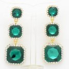 Women Rhinestone Crystals 3 Running Sea Green Square Drop Pierced Earring 141525