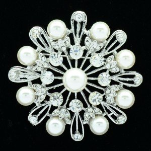 Rhinestone Crystal Wedding Bridal Round Flower Brooch Pins White Pearl Broach