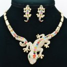 Clear Gecko Lizard  Necklace Earring Set Jewelry Mix Rhinestone Crystals FA3274