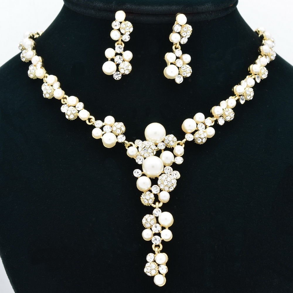 Faux Pearl Flower Necklace Earring Sets Bridal Jewelry Rhinestone Crystals 0954