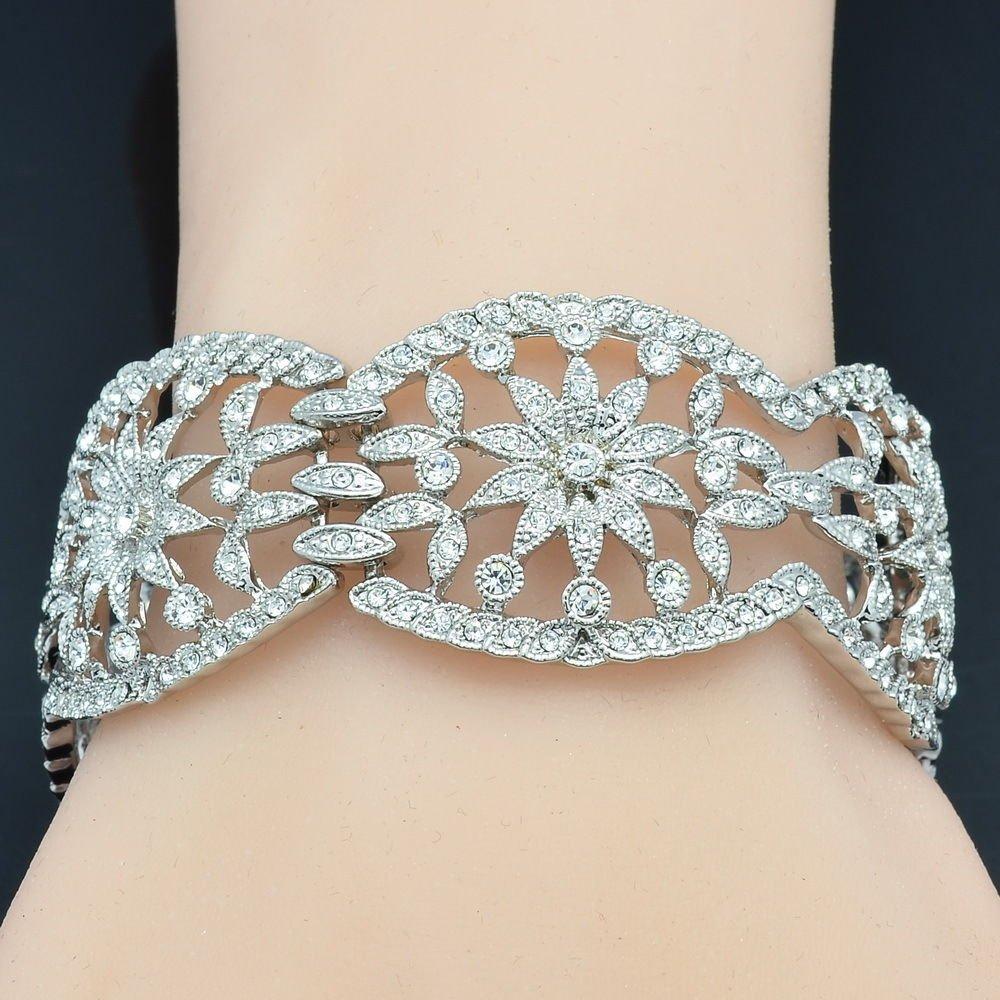 Rhinestone Crystal Wedding Bridal Flower Heart Bracelet Bangle Silver Tone 02030