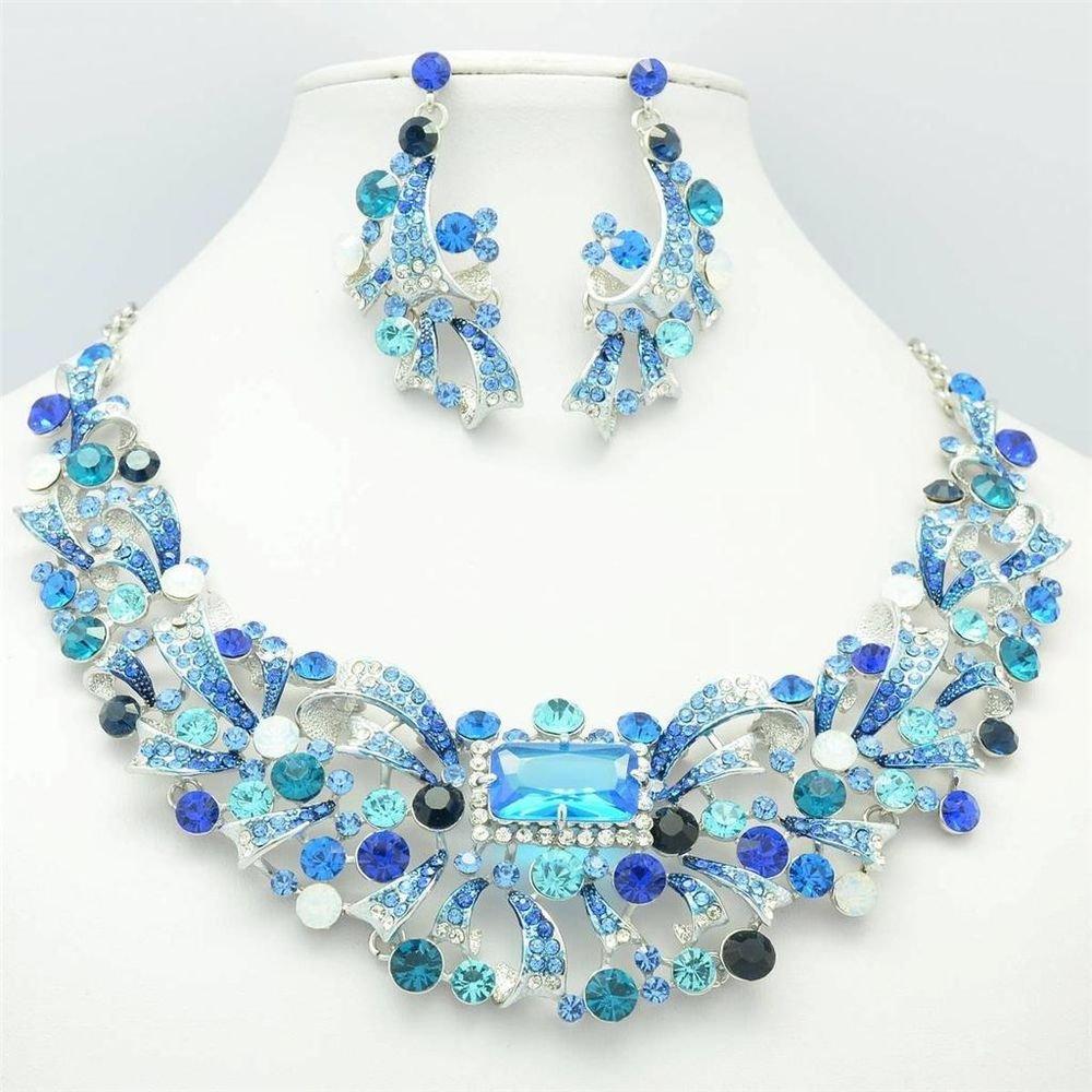 Dazzling Zircon Flower Necklace Earring Jewelry Set Blue Rhinestone Crystal 5192