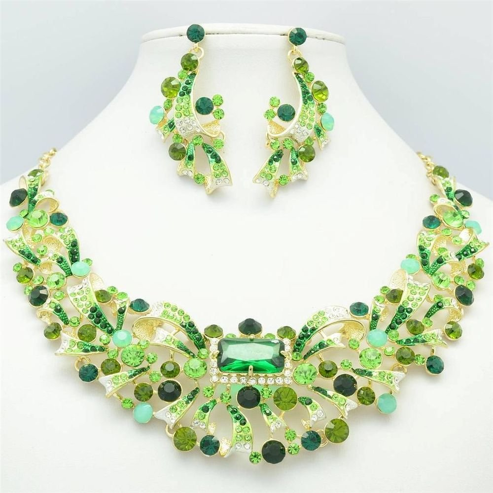 Gold Tone Flower Necklace Earring Jewelry Set w/ Green Rhinestone Crystal 5192