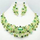 Gold Tone Flower Necklace Earring Jewelry Set w/ Green Rhinestone Crystal 5192