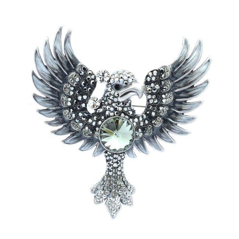 """High-Q Swarovski Crystal Bird Jet Hematite Parrot Brooch Broach Pin 3.1"""" SBA4433"""