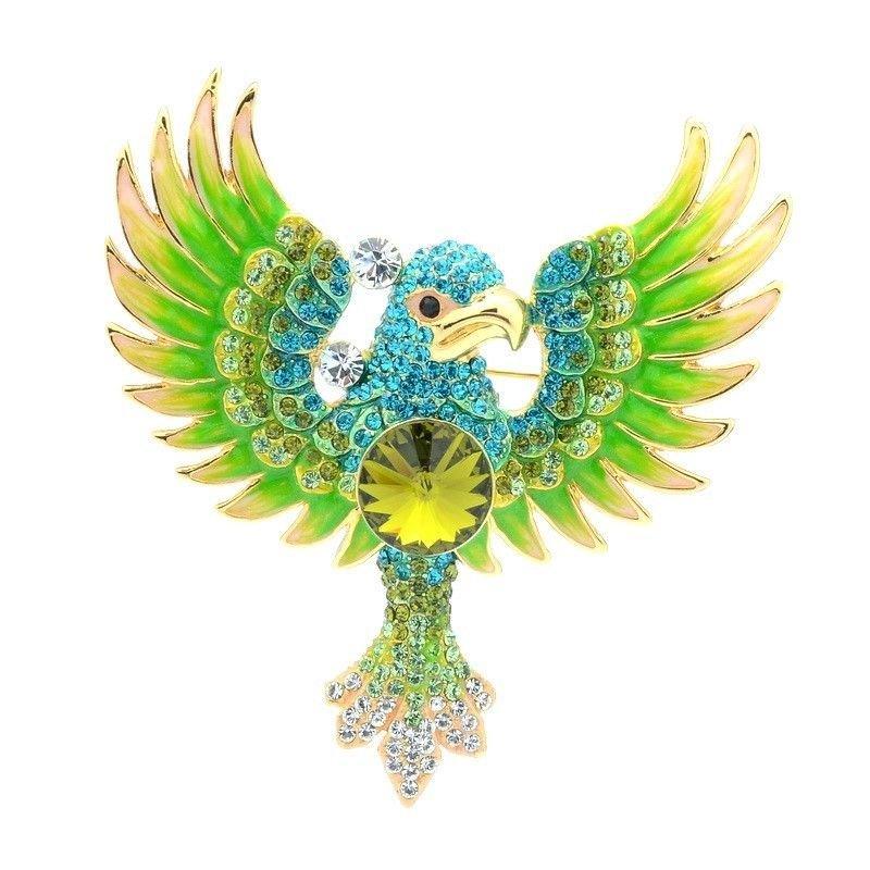 """Green Enamel Animal Parrot Brooch Pin High Quality Swarovski Crystals 3.1"""" 4433"""