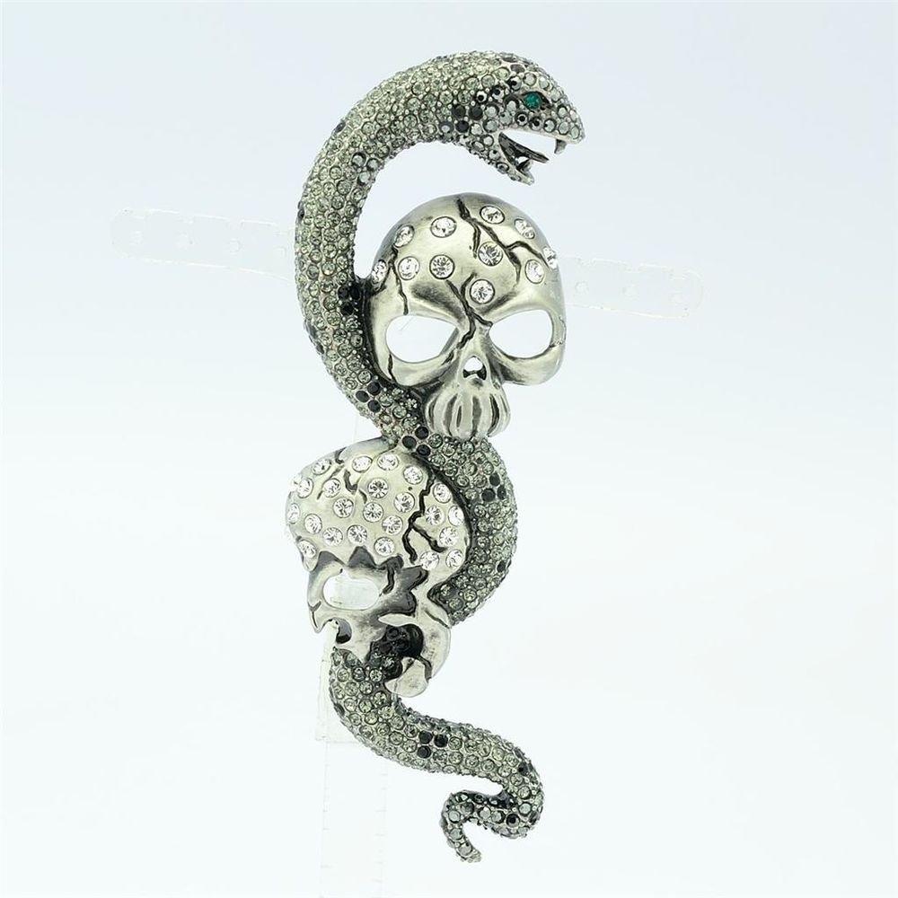 High Quality Swarovski Crystal Black Snake 2Skull Head Brooch Broach Pin SBA4495