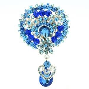 Bridal Dangle Blue Flower Brooch Pin Pendant Rhinestone Crystal  6320