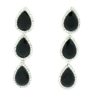 Pretty Black Teardrop  Rhinestone Crystals Dangle Pierced Earring 223625
