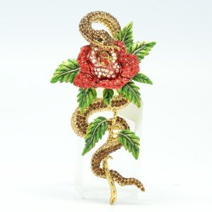 High-Quality Stunning Red Rose Snake Brooch Pin Swarovski Crystals SBA4493-5