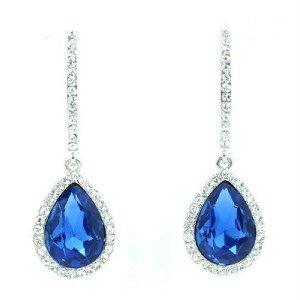 Sea Blue Pierced Dangle Drop Earring Women Jewelry Rhinestone Crystal 214114
