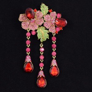 Retro Dangle Drop Rhinestone Crystals Red Flower Leaf Brooch Broach Pin 4740