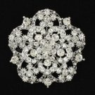 Charming Clear Flower Brooch Broach Pin Rhinestone Crystals Birdal Wedding 3809
