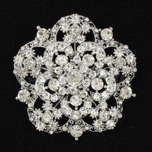Charming Clear Flower Brooch Broach Pin Rhinestone Crystals Birdal Wedding 3809