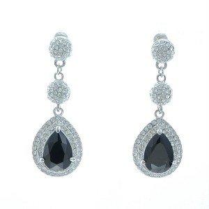 Rhinestone Crystals Triple Black Teardrop Dangle Pierced Earring