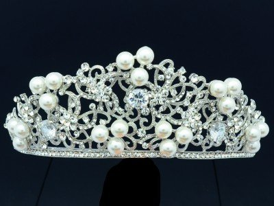 Clear Rhinestone Crystals Faux Pearl Flower Tiara Crown For Wedding Bridal