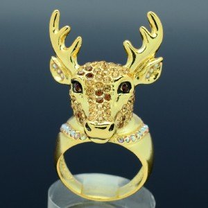 Gold Tone Fashion Animals Brown Deer Cocktail Ring Size 8# W/ Swarovski Crystals