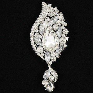 "Bridal Dangle Flower Brooch Pin Clear Rhinestone Crystals Pendant 4.1"""
