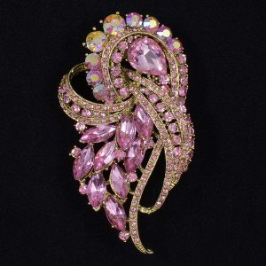 Vitnage Light Rose Flower Brooch Pins Broach Drop Rhinestone Crystal 4243