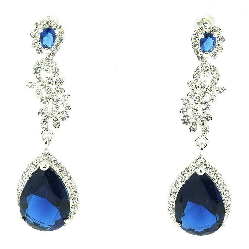 Rhinestone Crystals Dark Blue Zircon Flower Drop Dangle Earring For Women 20528