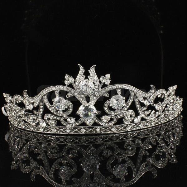 Bridal Bridesmaid Flower Tiara Crown Wedding Clear Swarovski Crystals SH8439-0C