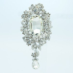 Birdal Clear Rhinestone Crystals Dangle Flower Brooch Pin Pendant 5057