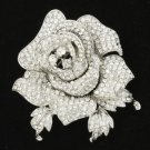 "Swarovski Crystals Clear Rose Flower Brooch Broach Pin Women 2.1"" Wedding Birdal"
