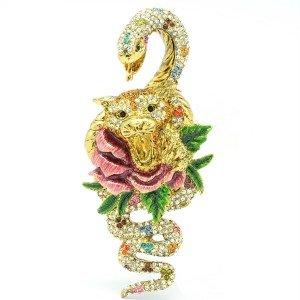 Unique Luxury Pink Rose Snake Leopard Panther Brooch Pin  Swarovski Crystals