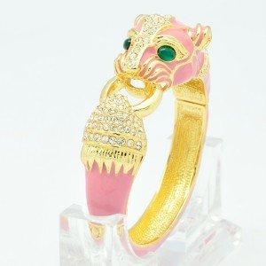 Animal Pink Enamel Leopard Panther Bangle Bracelet Cuff Swarovski Crystals