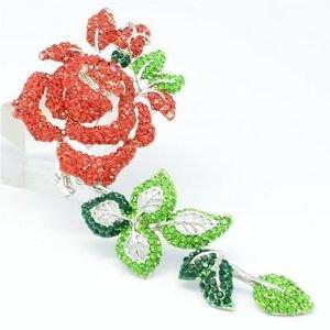 Fabulous Long Leaf Red Rose Flower Brooch Broach Pins Rhinestone Crystal 4228