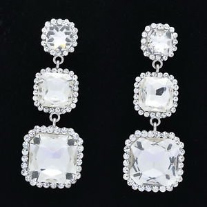 Wedding Rhinestone Crystal Bridal Clear Square Drop Pierced Earring Women 141525
