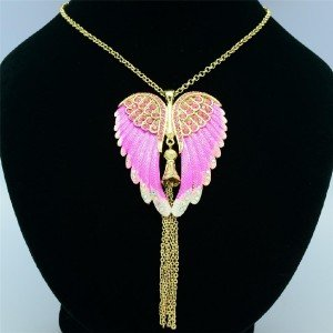 Fashionable Angel Wings Necklace Pendant W/ Pink Rhinestone Crystals