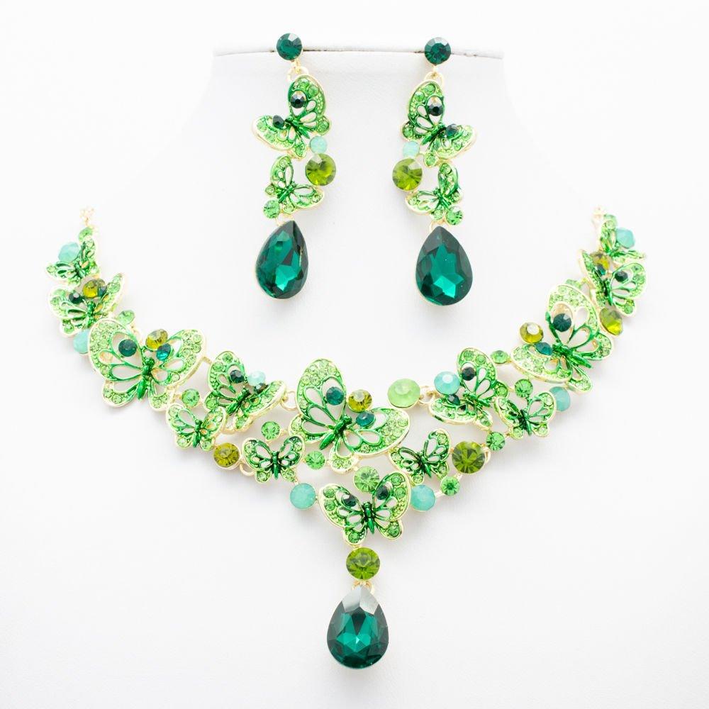Fresh Green Butterfly Flower Necklace Set Rhinestone Crystals Women Jewelry 6853