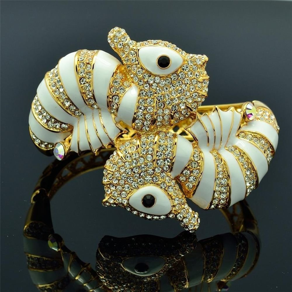 H-Quality Swarovski Crystals Animal White Enamel Sea Horse Bracelet Bangle Cuff