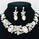 Noble Clear Flower Necklace Earrings Jewelry Sets Rhinestone Crystal Bridal 5397