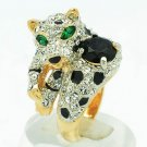 Swarovski Crystal Zircon Leopard Cocktail Ring for Women Size 8# 003AB
