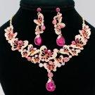Cute Rhinestone Crystal Pink Butterfly Flower Necklace Set Women's  Jewelry 6853