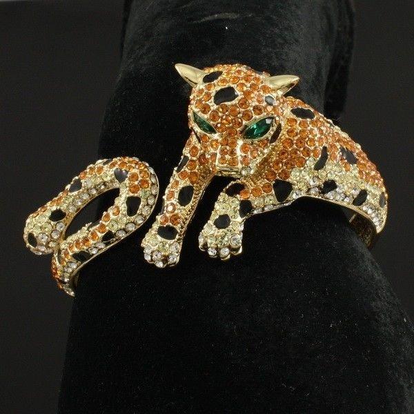 High Quality Swarovski Crystals Topaz Panther Leopard Bracelet Bangle Cuff