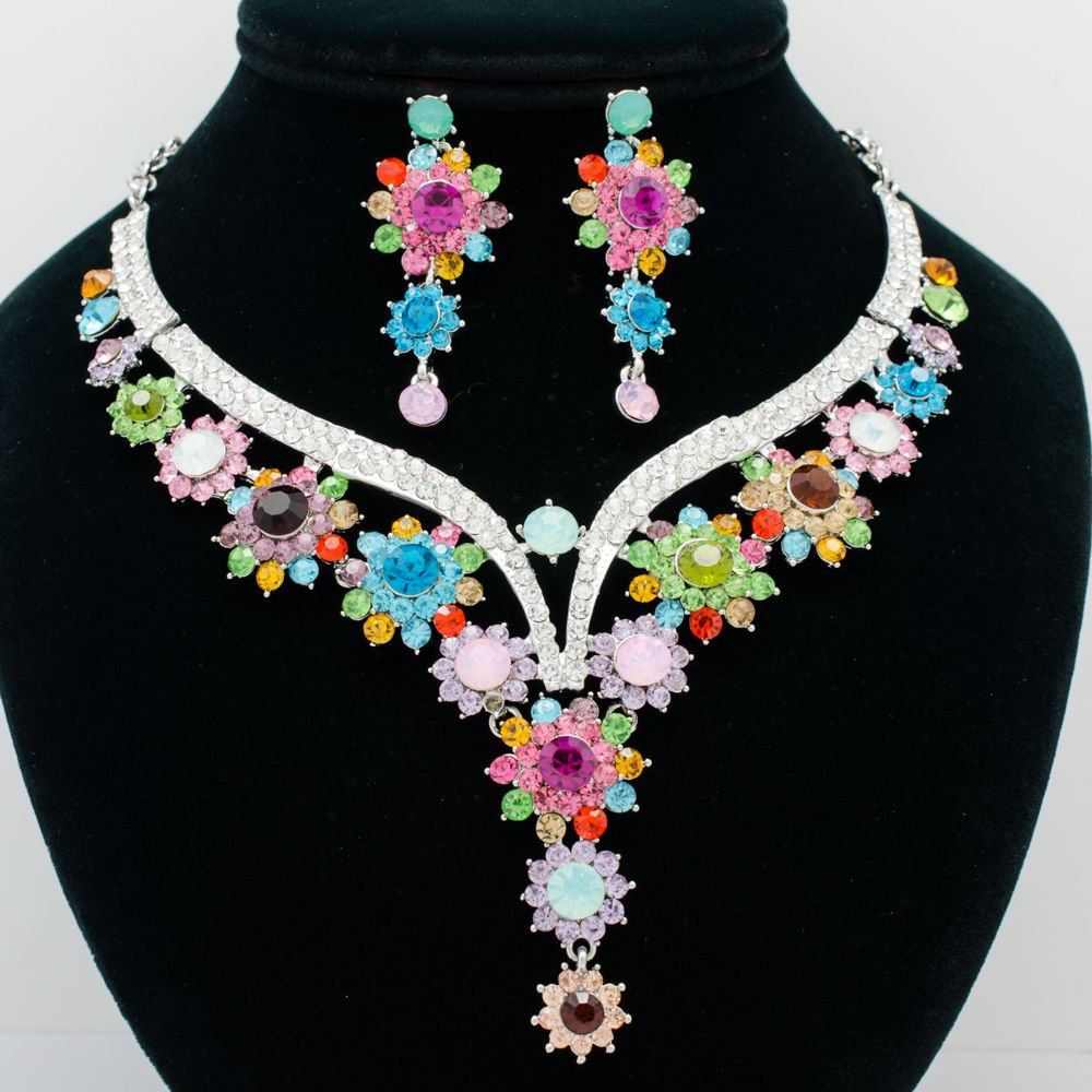 Super Mix Flower Bud Necklace Earring Set Rhinestone Crystal Women Jewelry 00329
