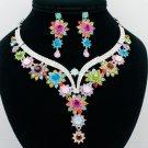 Super Mix Flower Bud Necklace Earring Set Rhinestone Crystal Women Jewelry 00329