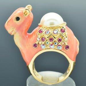 Pink Enamel Faux Pearl Dromedary Camel Cocktail Ring Sz 7# w/ Swarovski Crystals