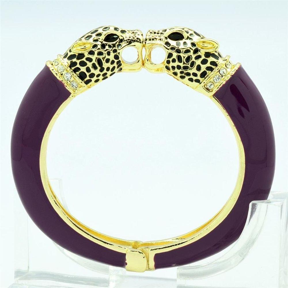 Animal Enamel Purple Leopard Panther Bracelet Bangle Cuff Swarovski Crystals