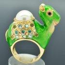 Green Enamel Faux Pearl Dromedary Camel Cocktail Ring Sz 7# Swarovski Crystals
