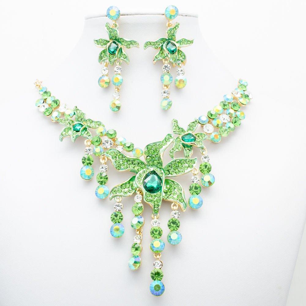 Fashion Morning Glory Flower Necklace Set Green Rhinestone Crystal Jewelry 00898