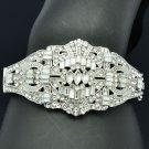 Bridal Wedding Jewelry Flower Bracelet Bangle Cuff Rhinestone Crystals 9550