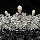 Smart Pearl Flower Crown Tiara Wedding Prom Pageant Rhinestone Crystals SHA8646