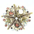 Purple Starfish Brooch Broach Pin W/ Imitate Pearl Rhinestone Crystals 6412
