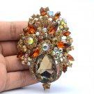 "VTG Style Brown Rhinestone Crystals Flower Teardrop Brooch Broach Pin 3.1"" 5844"