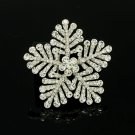 "Stylish Clear Snowflake Brooch Pin 2.4"" Rhinestone Crystals Wedding Jewelry 8802"