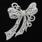 Clear Rhinestone Crystals Bow Bowknot Brooch Broach Pin for Wedding Jewelry 5823